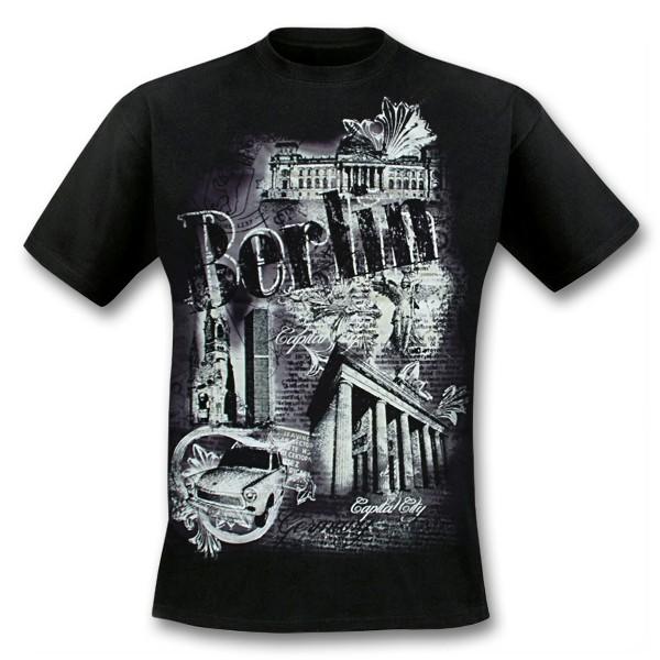 H Shirt Berlin old paper som Größe S