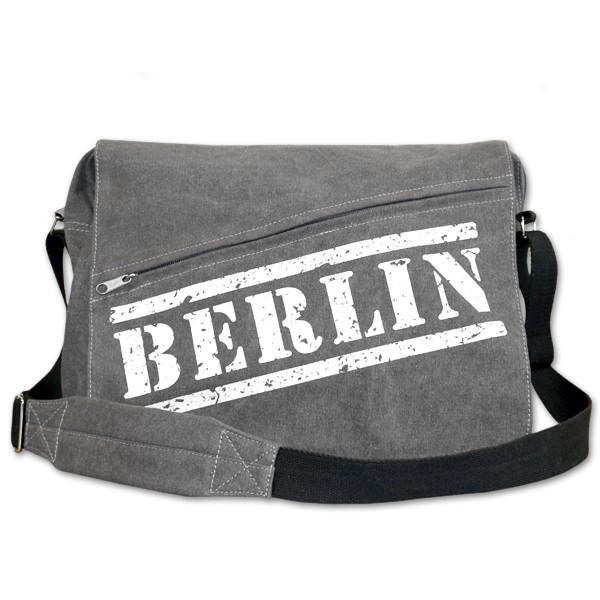 Umhängetasche Canvas grau Berlin Stempel