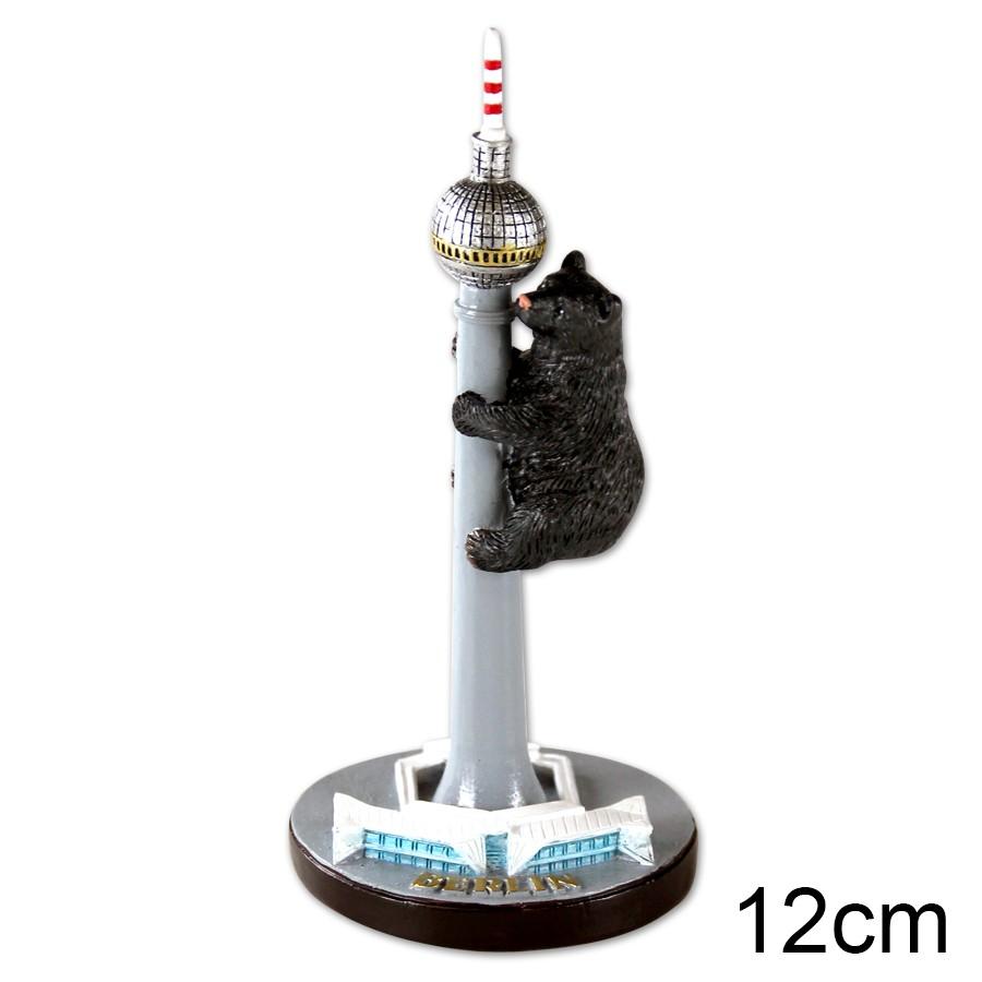 Miniatur Poly Fernsehturm mit Bär 12cm
