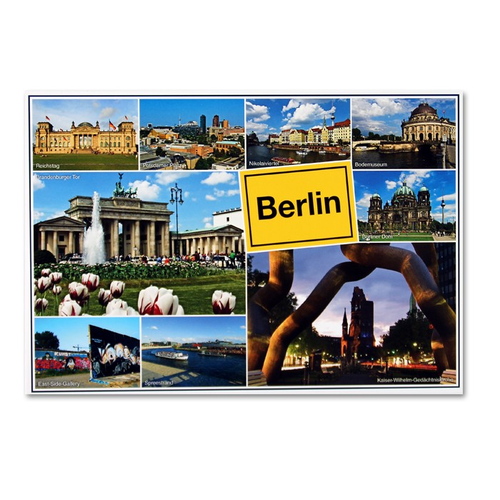 Postkarte Standard QF 9 Bilder + Ortsschild Berlin