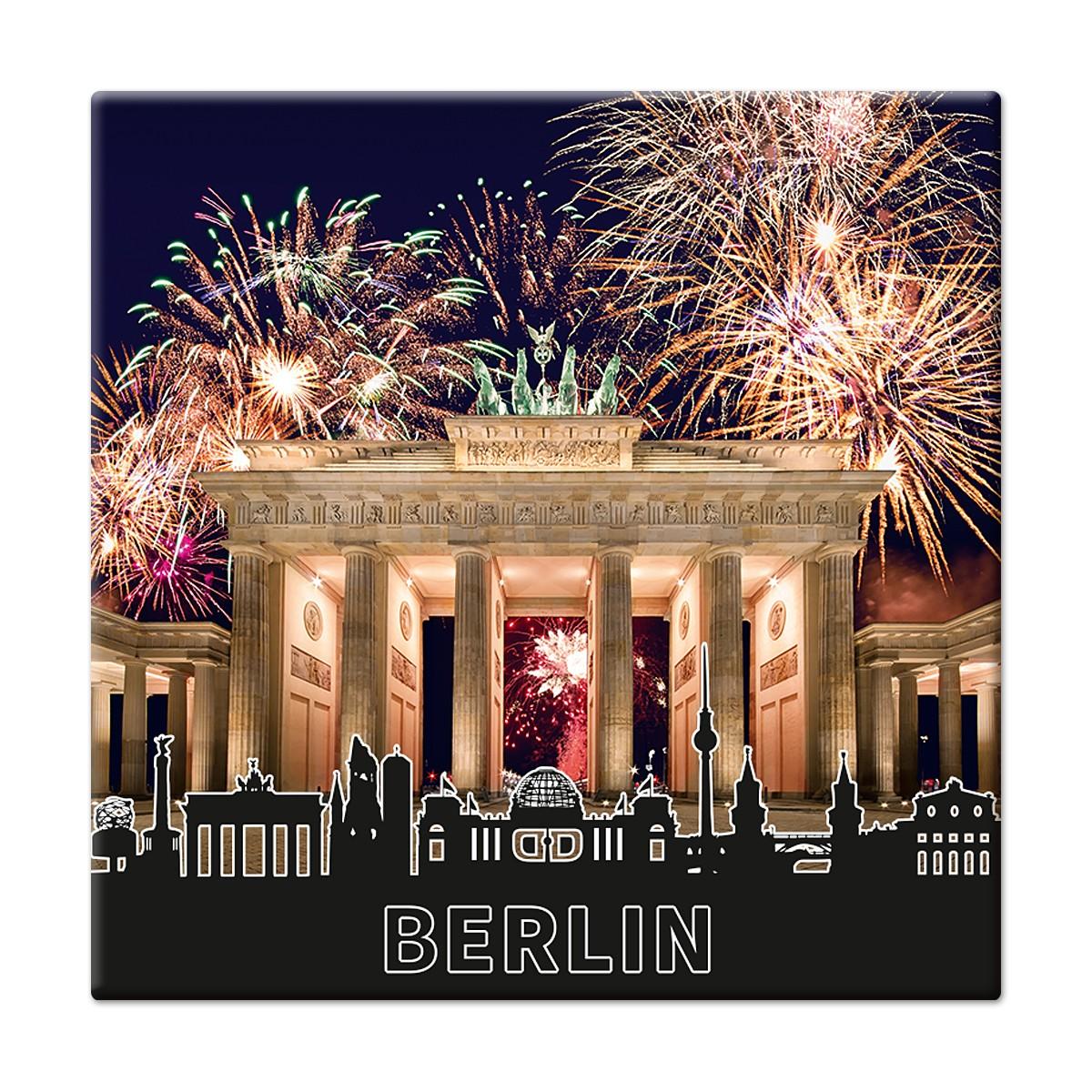 Fotomagnet Brandenburger Tor mit Feuerwerk