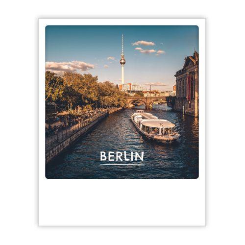 Polaroid Karte spree, gold and alex Berlin