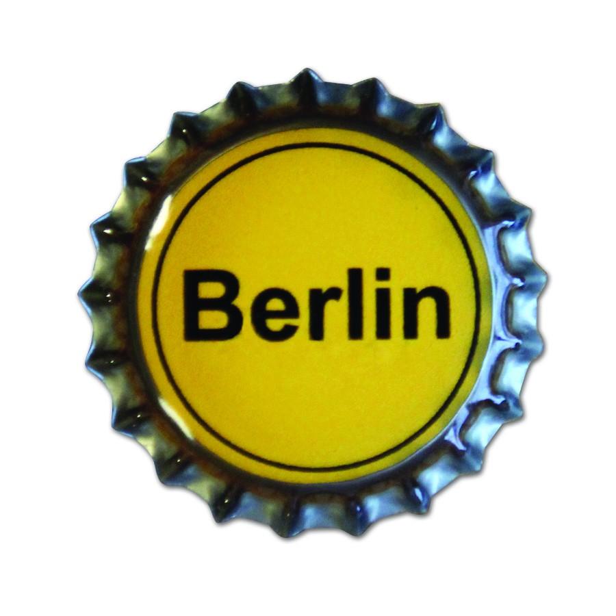 Magnet Kronkorken Ortsschild Berlin gelb