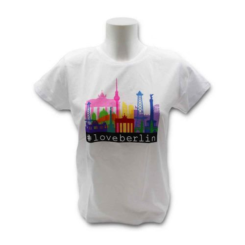 Damen Shirt Skyline Bunt weiss