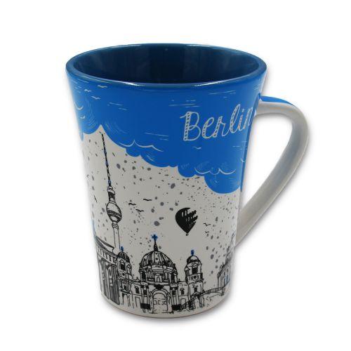 Tasse Berlin Regen blau