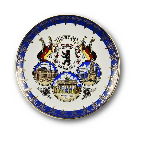 Teller 19cm 3er Bild Berlin kobaltblau gold