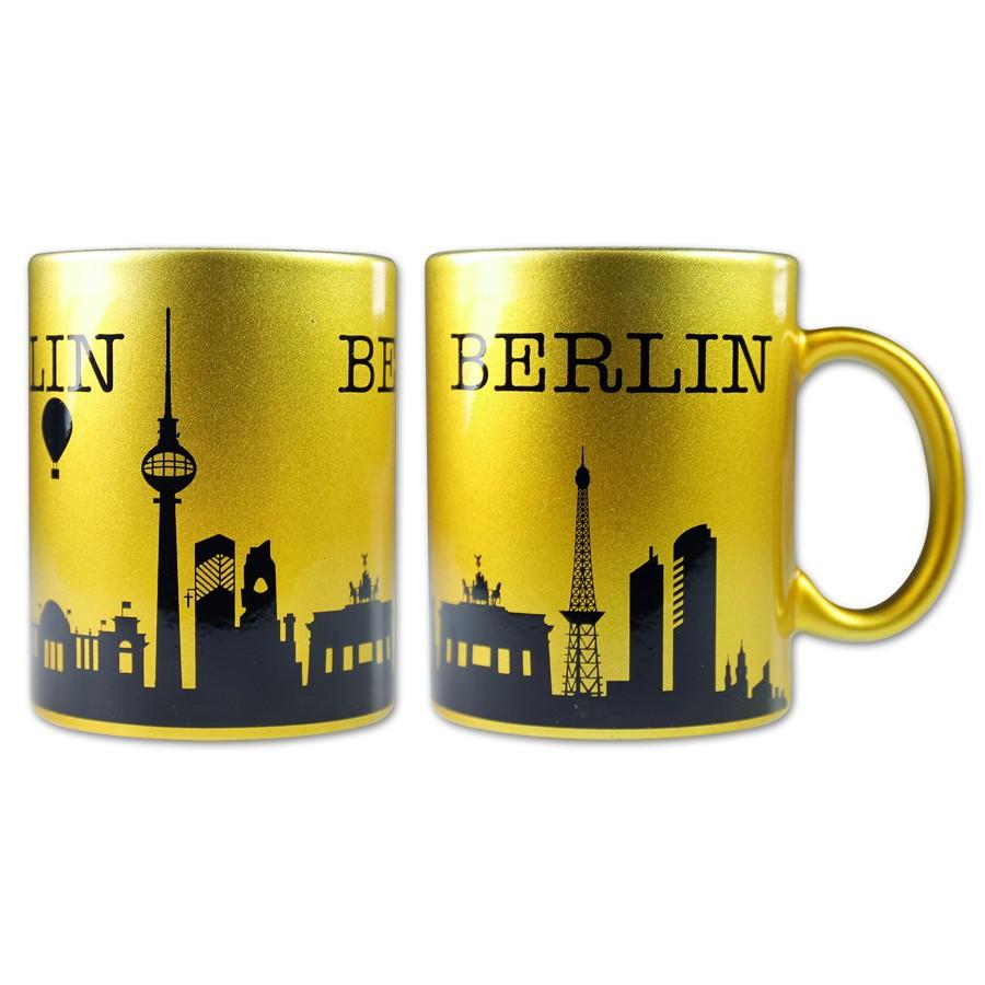 Tasse Silhouette Berlin gold-schwarz