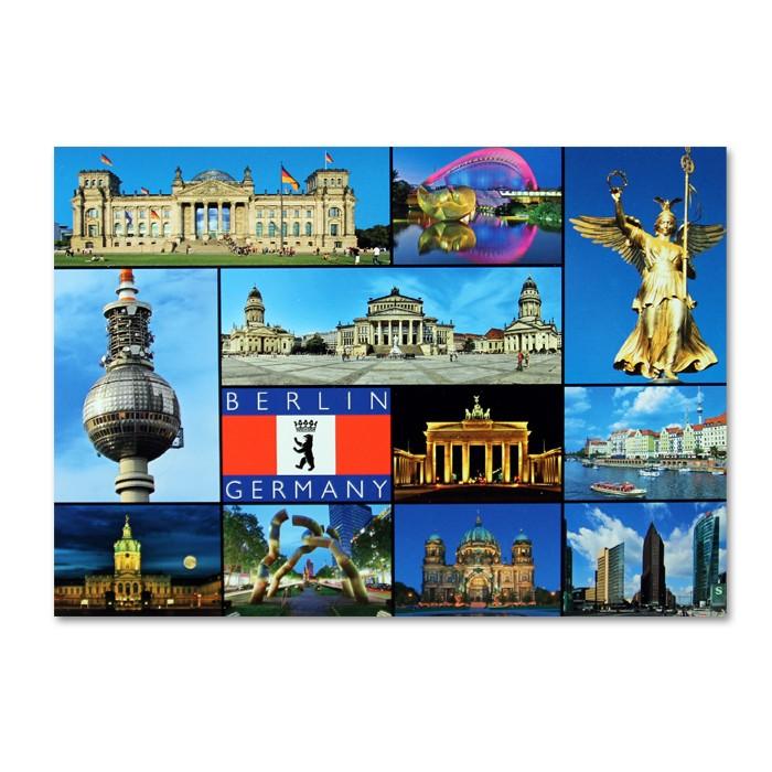 Postkarte Standard QF 11 Bilder + Fahne schräg