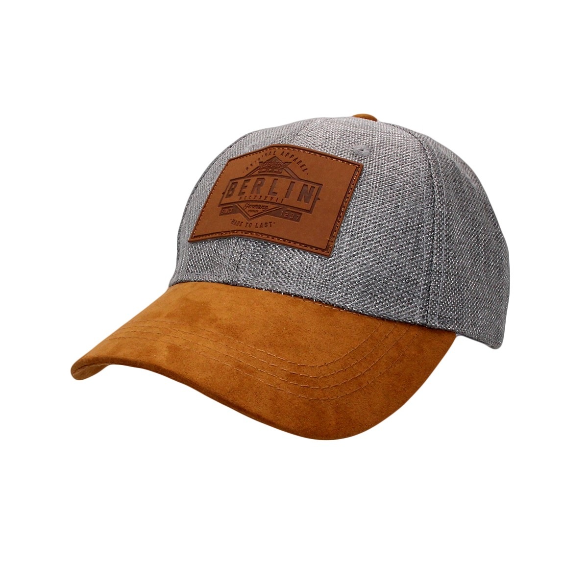 Basecap Leather Patch Berlin Grau