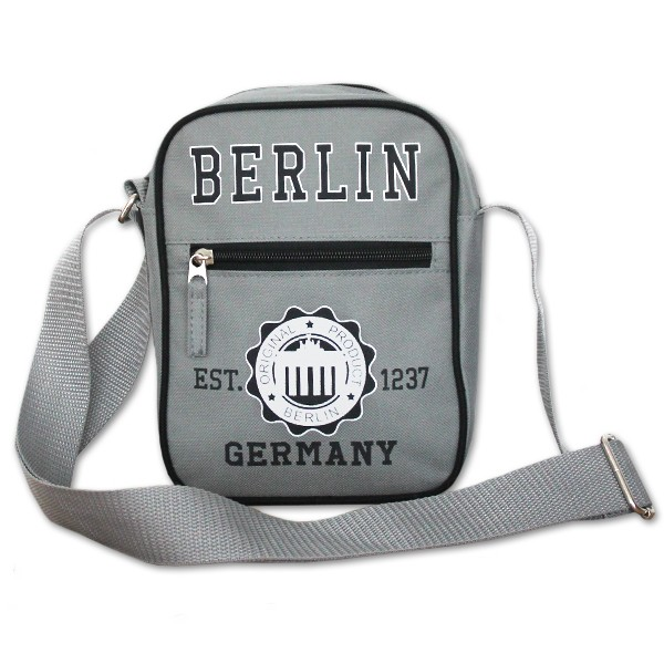 Mini Kurier Tasche Berlin Stempel BT grau-schwarz