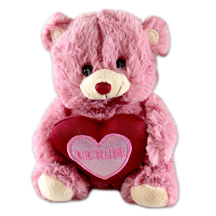 Bär 15cm rosa Herz Glitter