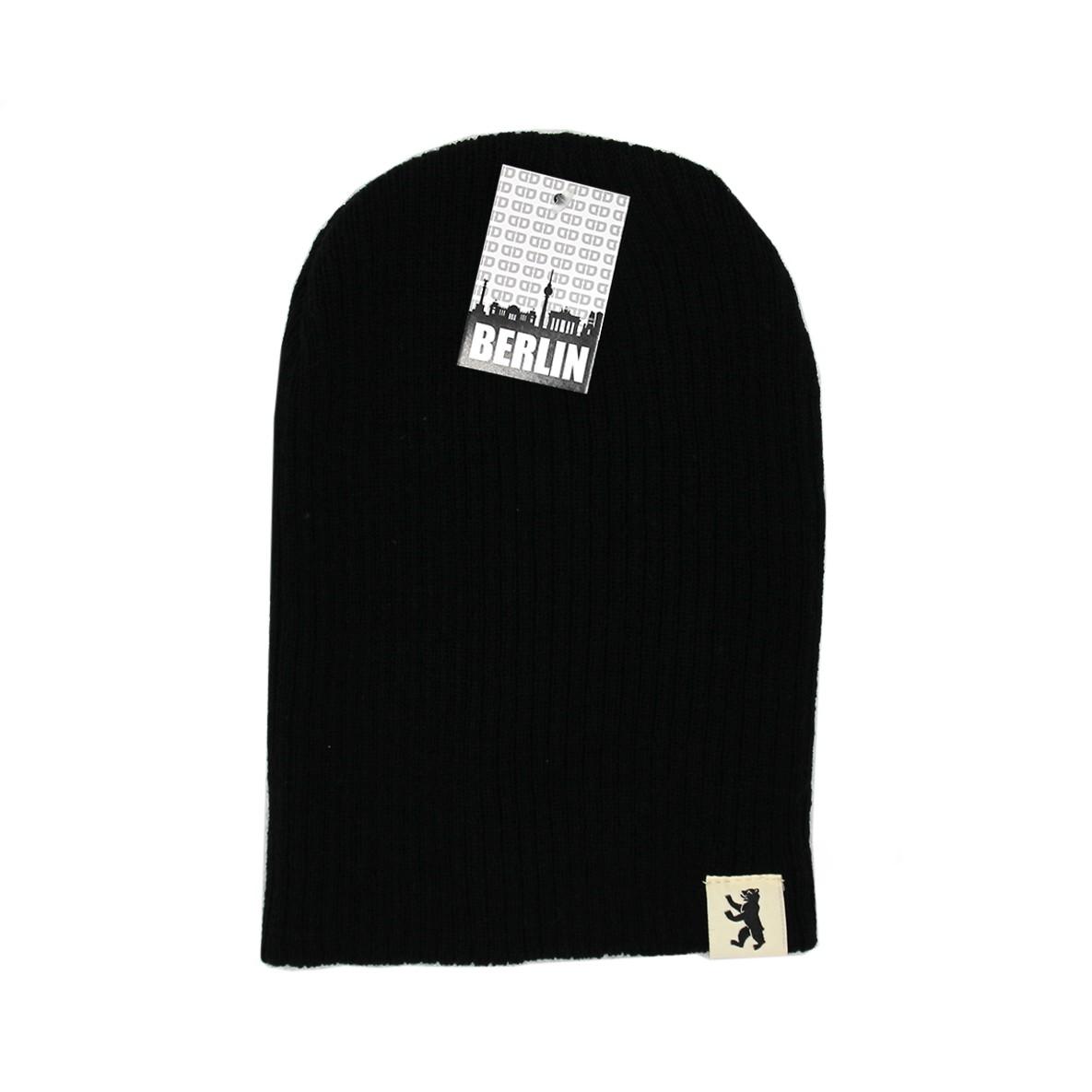 Mütze Basic geriffelt schwarz