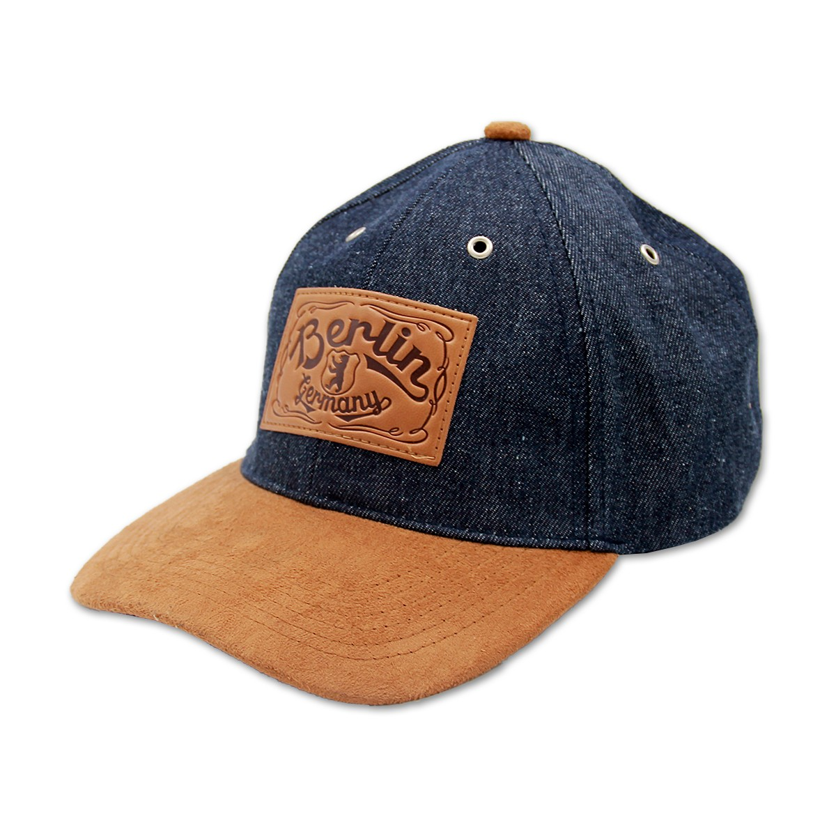 Basecap Berlin Denim leather patch