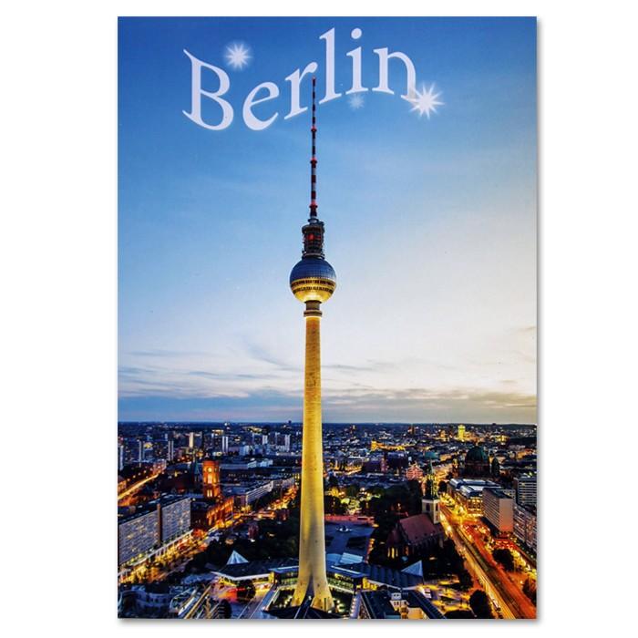 Postkarte Standard HF Stadtpanorama bei Nacht