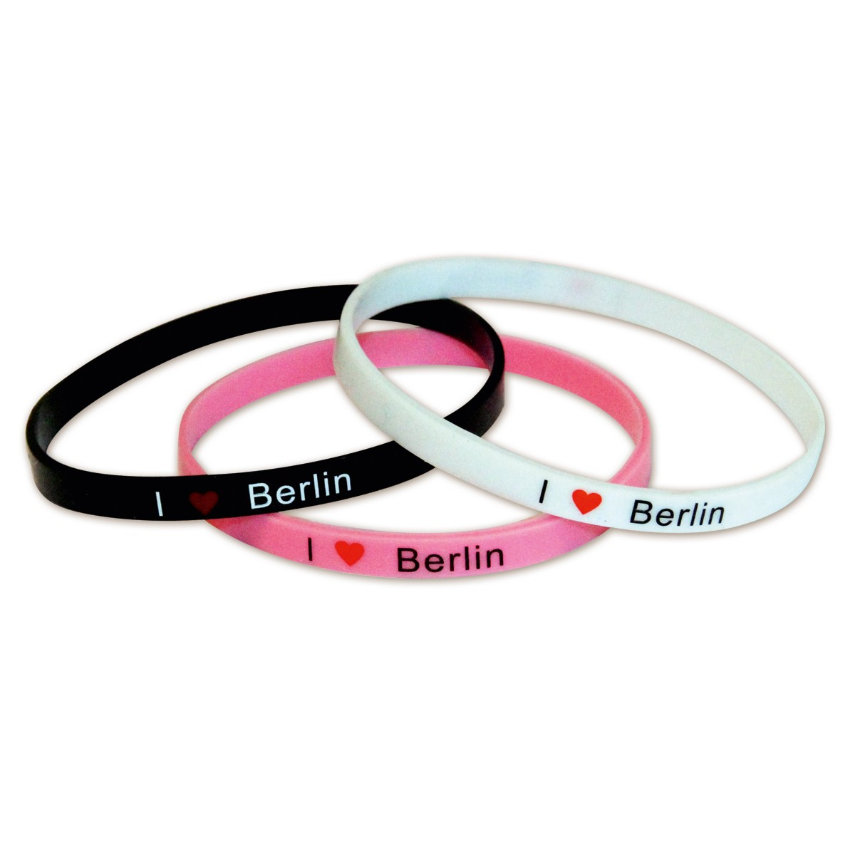 Armband I (Herz) Berlin, 3er Set, schw/rosa/weiß
