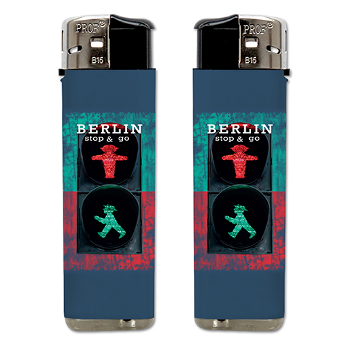 Feuerzeug Motiv Stop&Go, grün rot, H 8cm