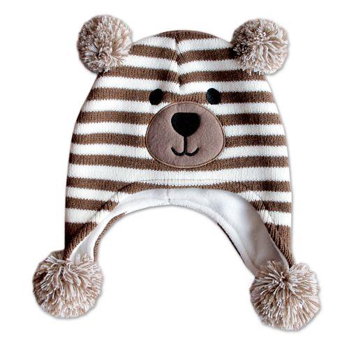 Mütze Kinder Bär gestreift weiß