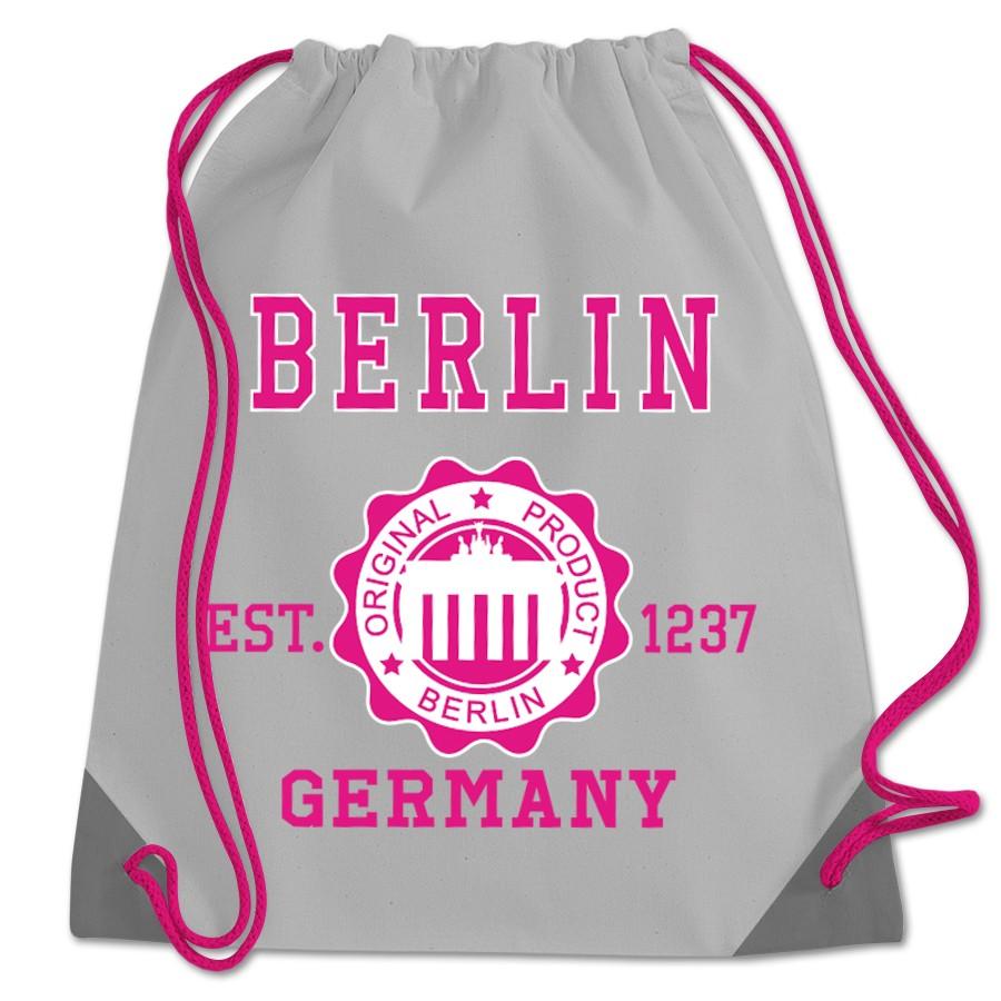 Sportbeutel Polyester Stempel BT grau-pink