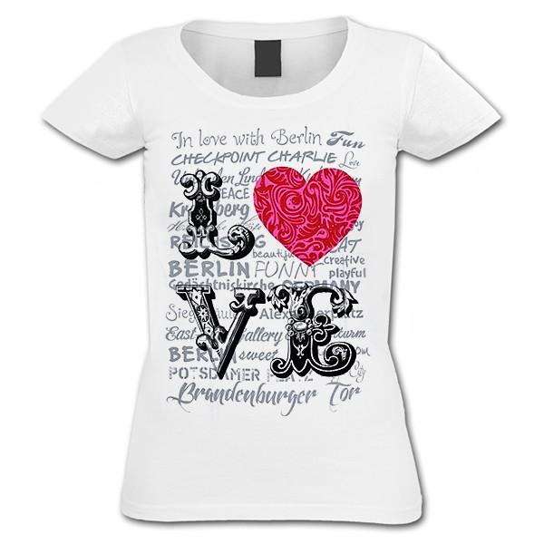 D Shirt Love Herz weiß ( S)