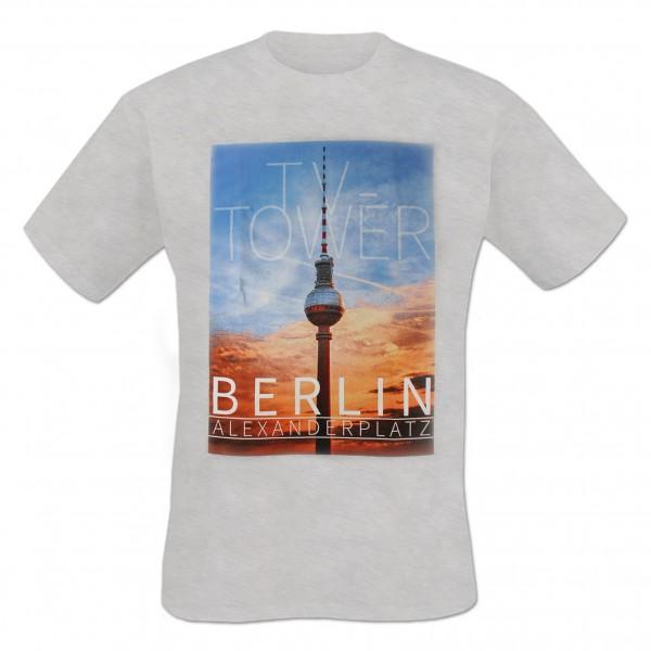 H Shirt Berlin TV Tower hellgrau meliert Größe S