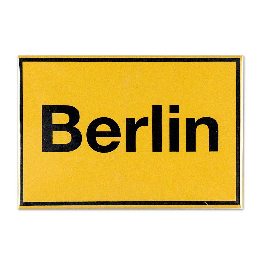 Fotomagnet Ortsschild Berlin gelb