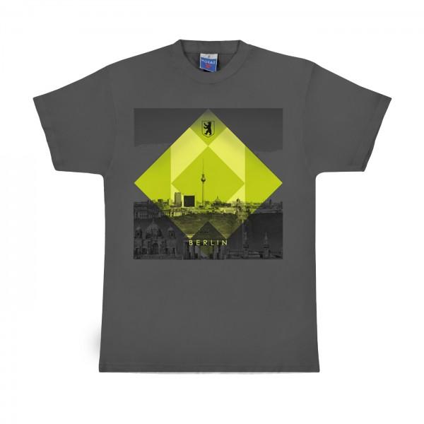 H Shirt Rombo verde dunkle grau Größe S
