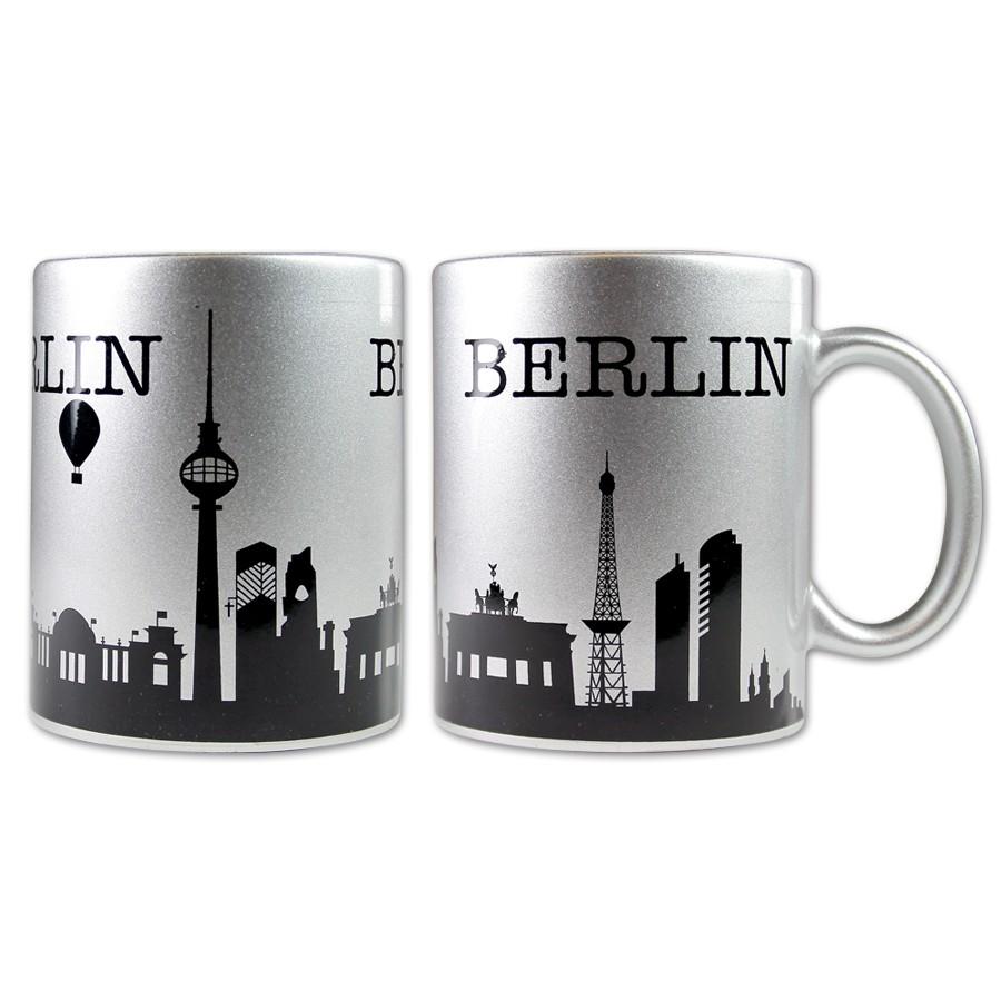 Tasse Silhouette Berlin silber-schwarz