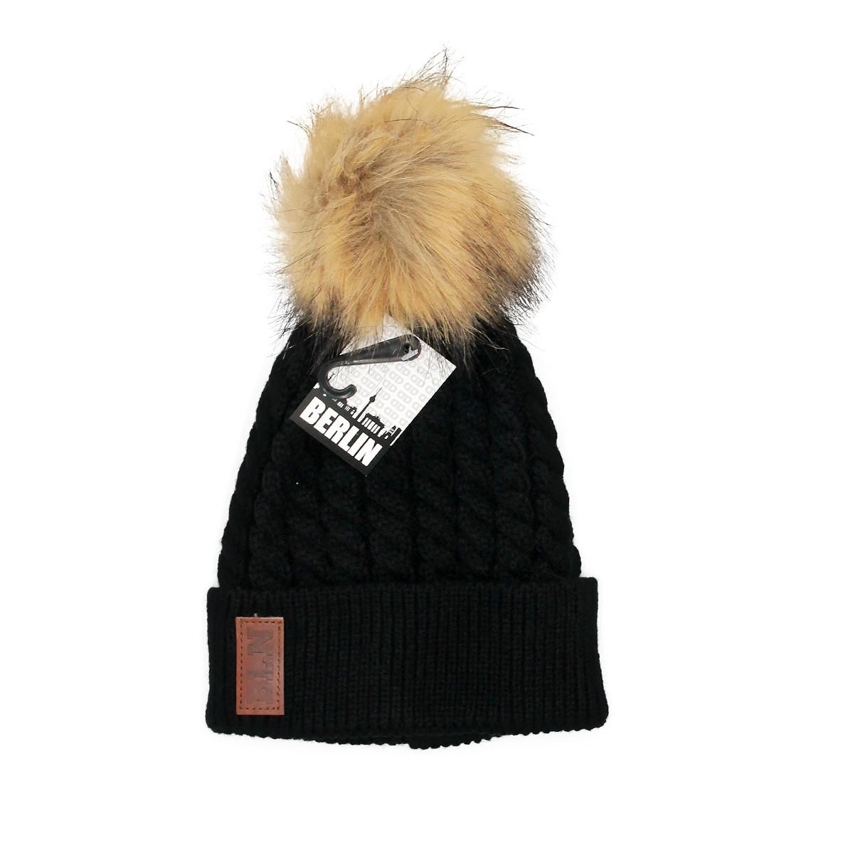 Mütze Strick m. Bommel schwarz