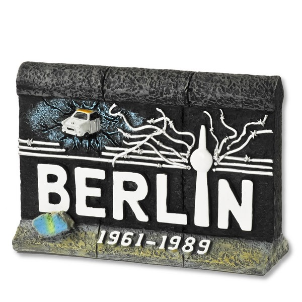 Miniatur Poly Mauer Trabi Stacheldraht 10cm