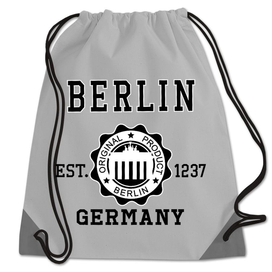 Sportbeutel Polyester Stempel BT grau-schwarz