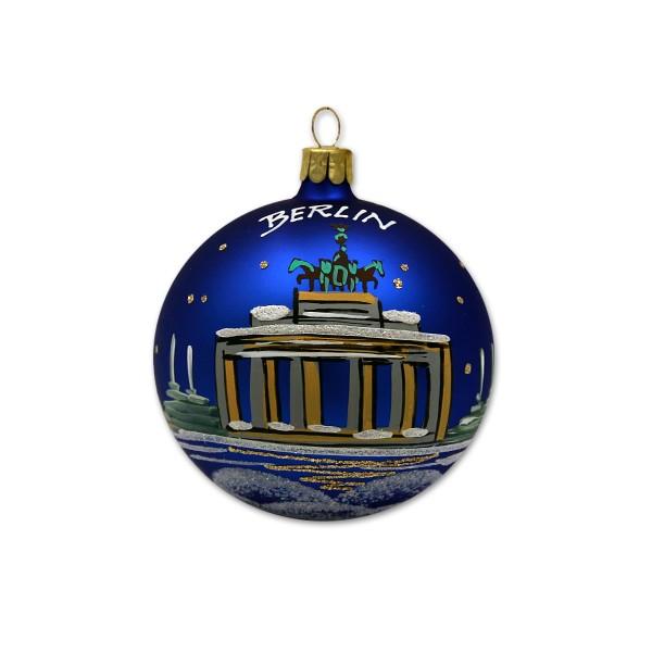 Weihnachtskugel Berlin 3er Bild blau