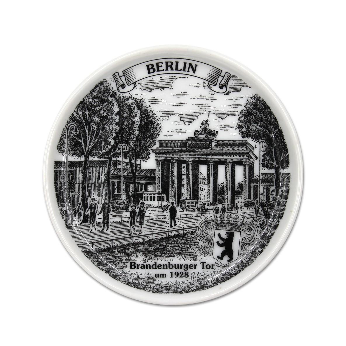 Untersetzer Porzellan s/w BT um 1928 Berlin weiß