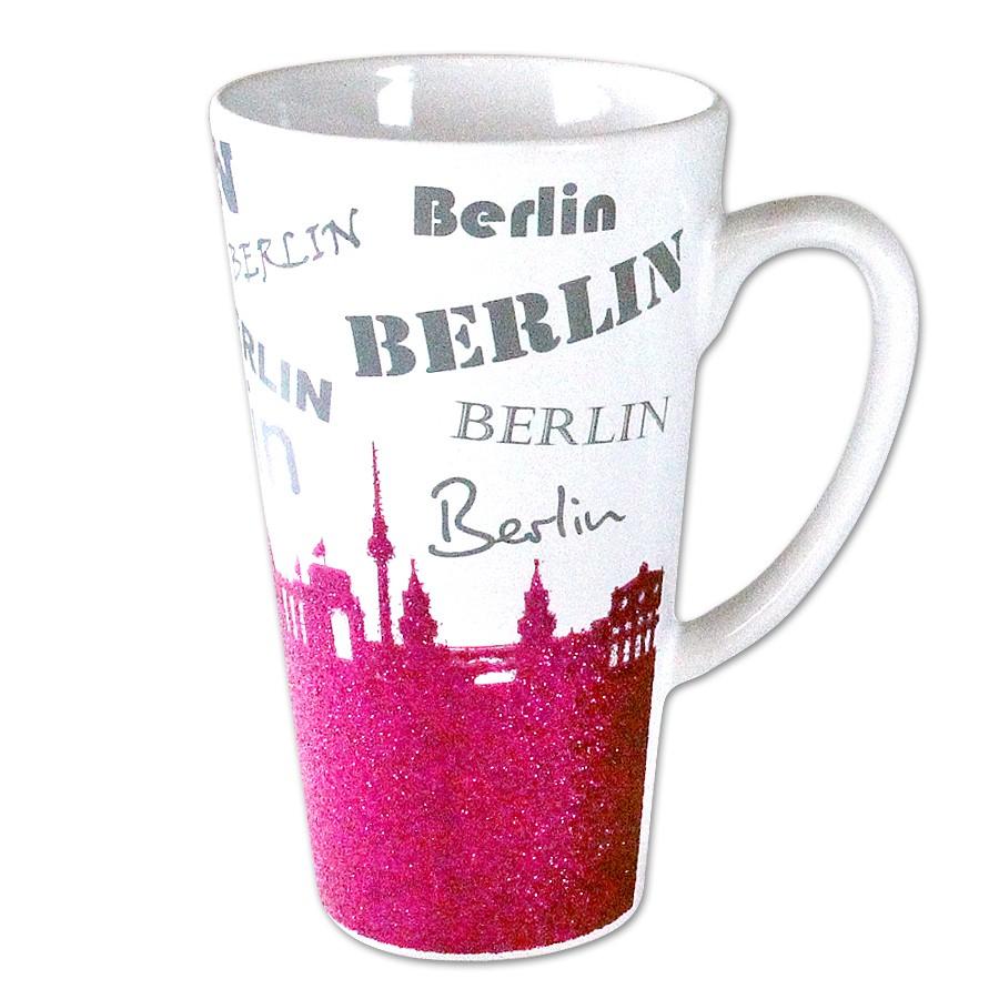 Tasse konisch groß Skyline glitter pink