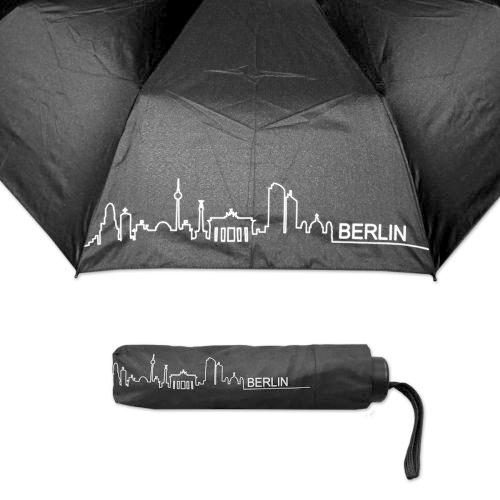 Taschenschirm Skyline Berlin schwarz