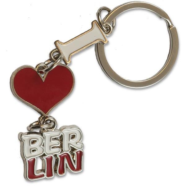 Schlüsselanhänger Metall I Herz weiß-rot