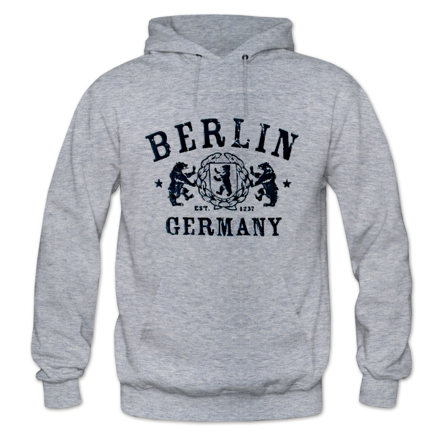 Sweater Kapuze Berlin Wappen grau