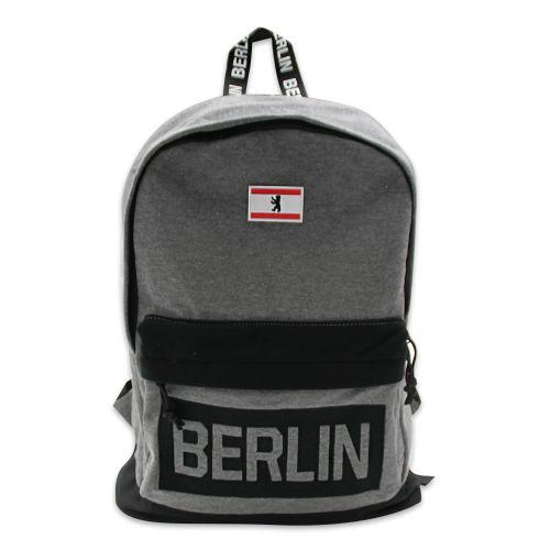 Rucksack Baumwolle Motiv Berlin in schwarz, Farbe hell grau