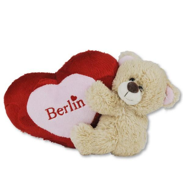 Bär 13cm mit Herz seitlich hell