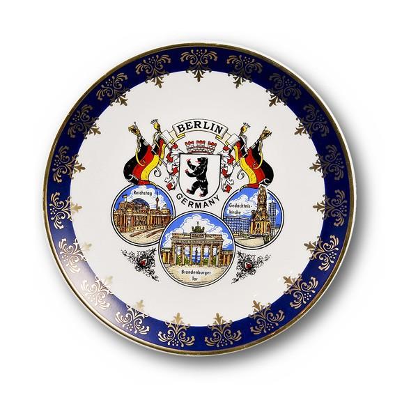 Teller 15cm 3er Bild Berlin kobaltblau gold
