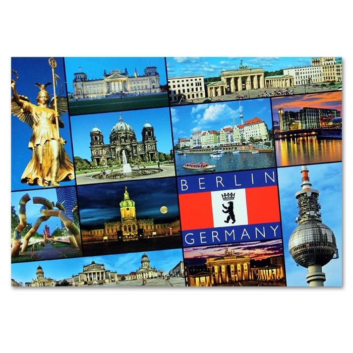 Postkarte Standard QF 12 Bilder + Fahne unten schr