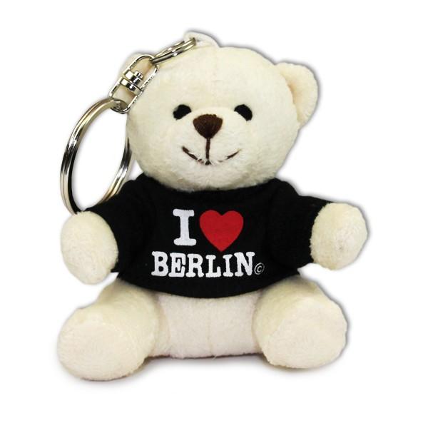 Schlüsselanhänger Plüschbär schw. I (Herz) Berlin