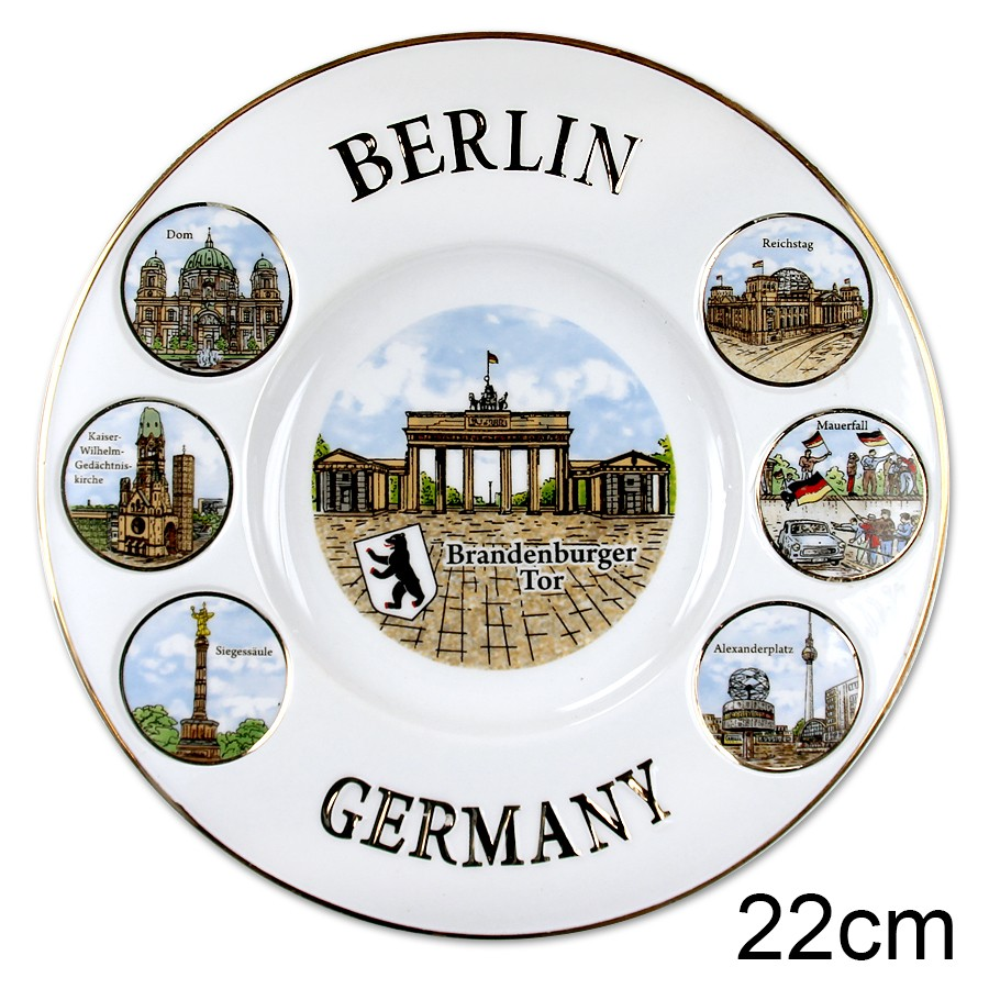 Teller Relief 22cm Berlin Germany mit Goldrand