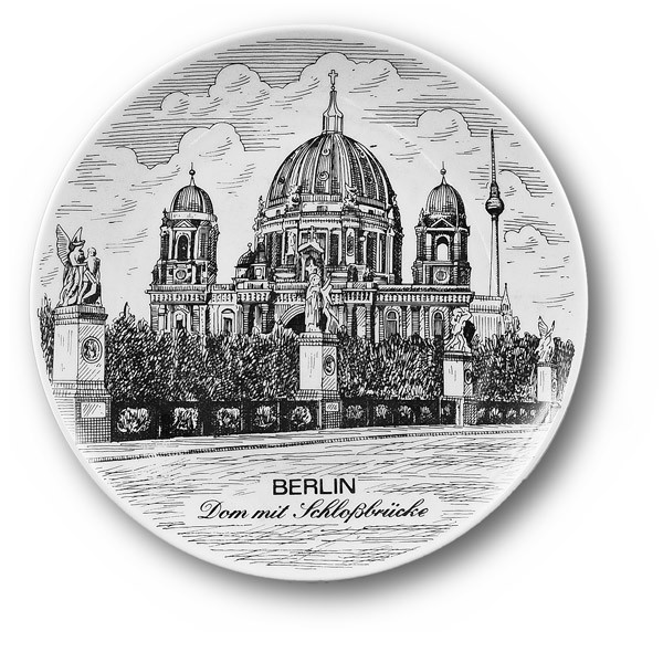 Untersetzer Porzellan s/w Berliner Dom Berlin