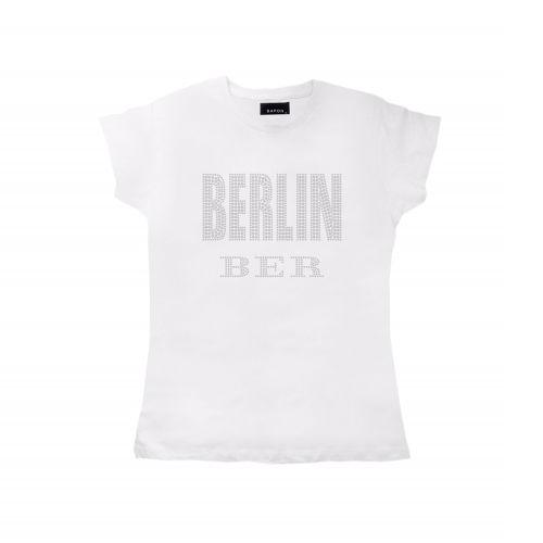 D Shirt Strass Berlin City weiss
