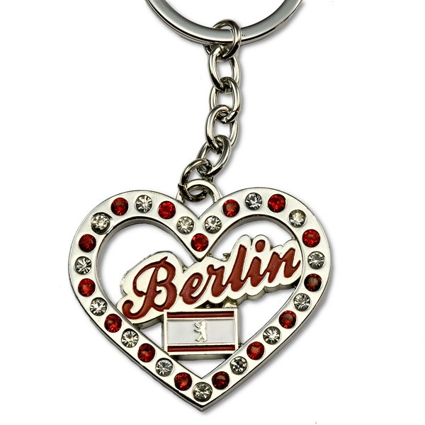 Schlüsselanhänger Metall (Herz)form Fahne Strass