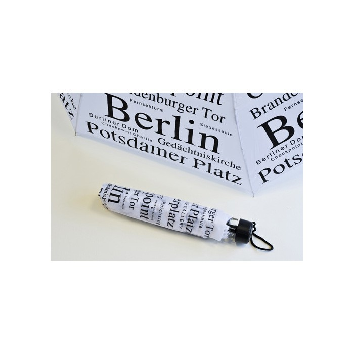 Taschenschirm Print Modern Berlin weiß-schwarz