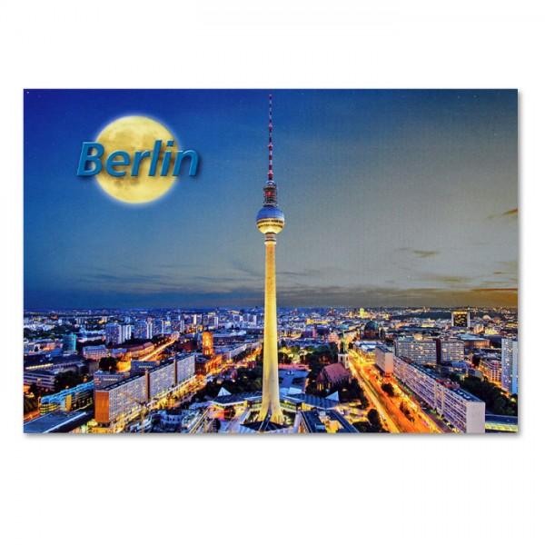 Postkarte Standard QF Stadtpanorama bei Nacht